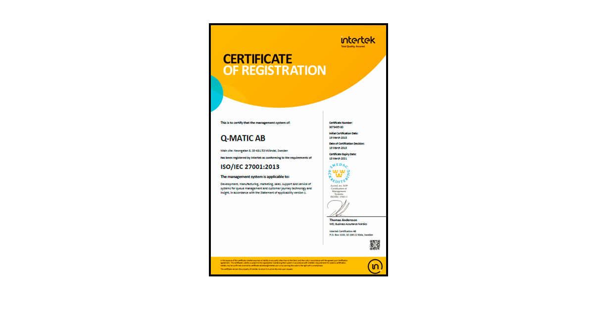 Qmatic ISO 9001 and 27001 Certificate by Intertek