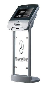 kiosk with mercedes benz standing