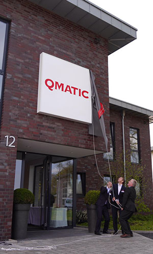 qmatic germany office sign and people