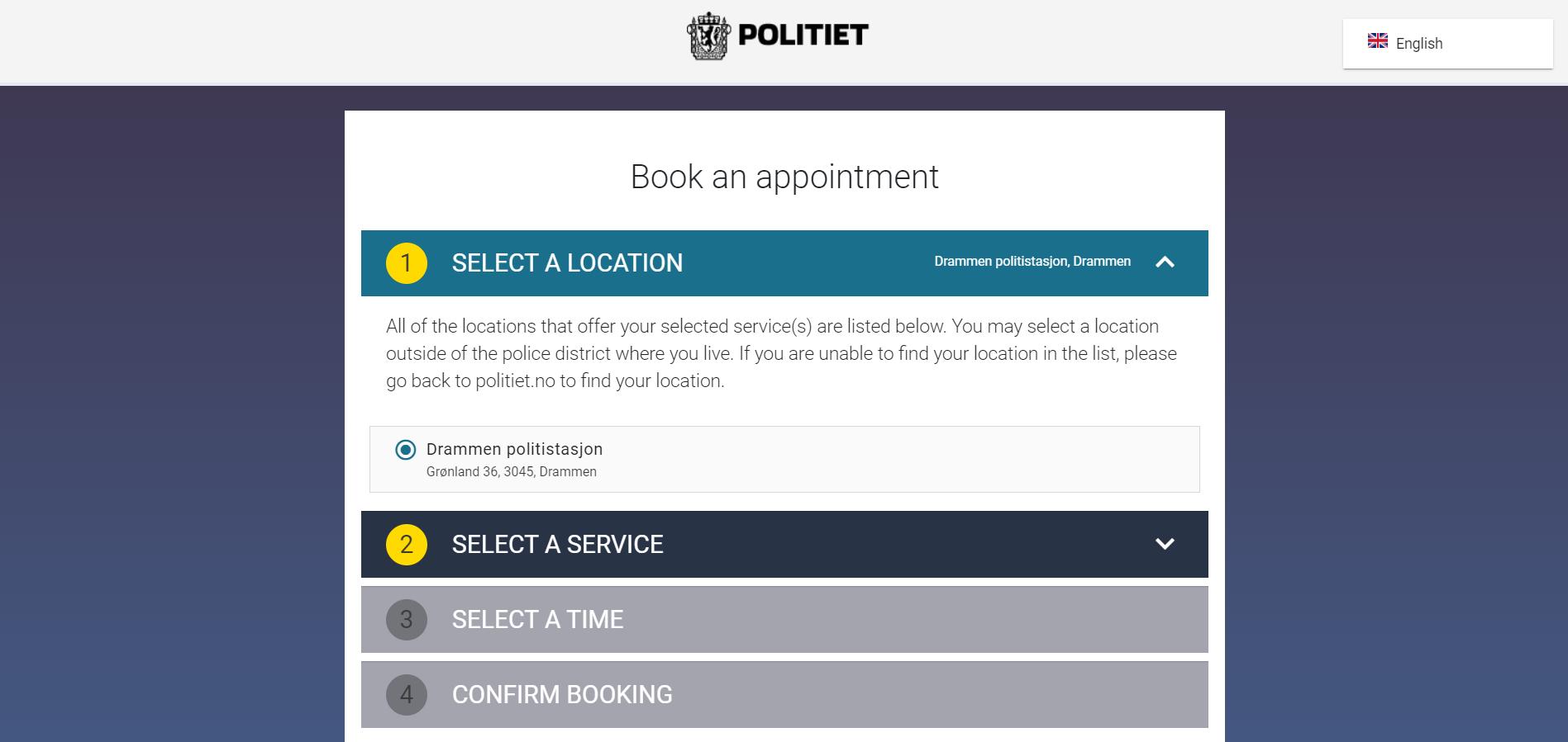 desktop screenshot of appointment booking