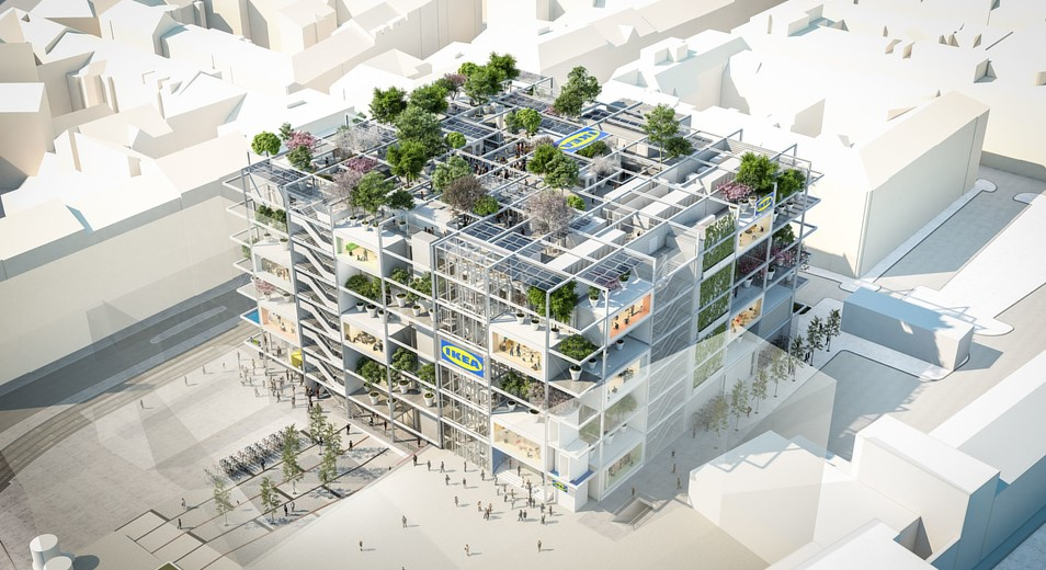 IKEA's city center store in Vienna, with green facades and a rooftop park
