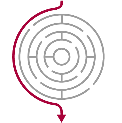 circular labyrinth with red arrow going past it