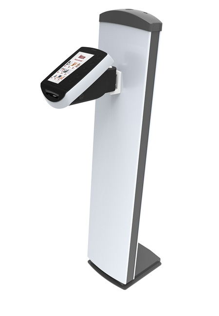 Qmatic Intro 6 kiosk on a piedestal