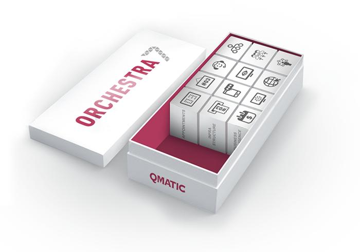 Qmatic Orchestra produktmoduler i en vit låda