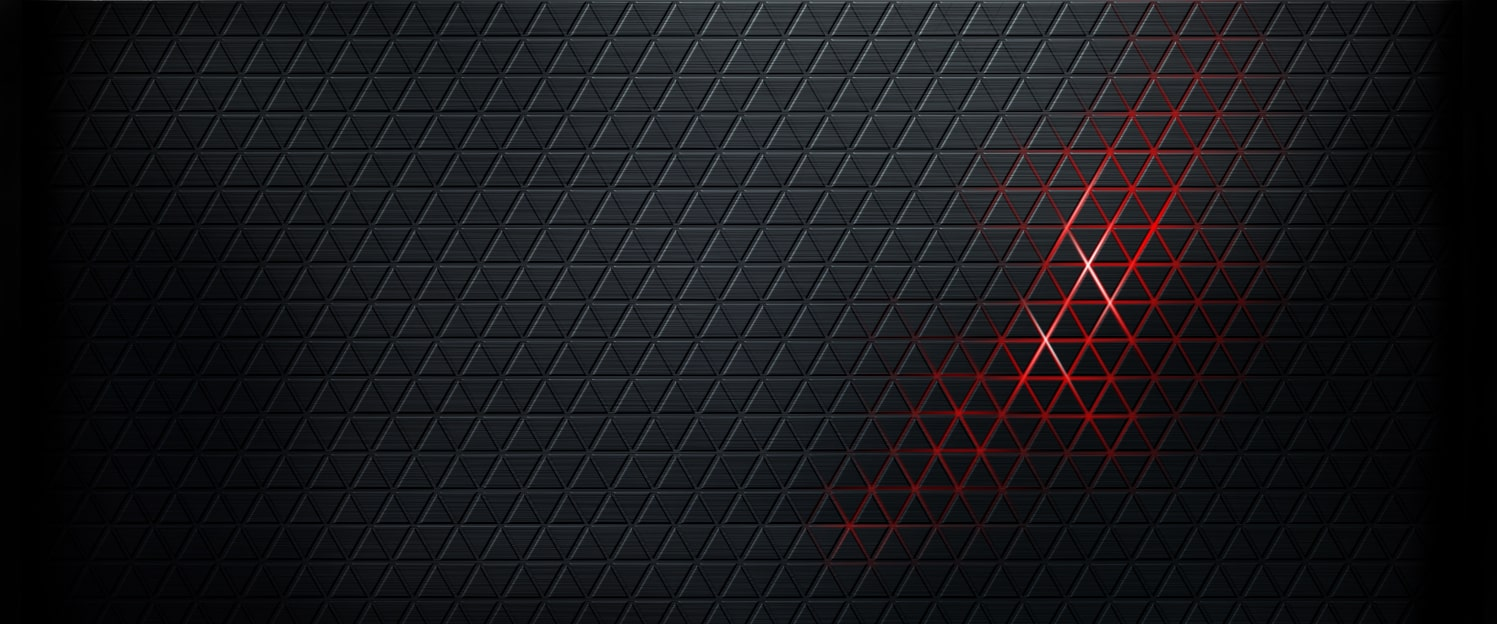 Black background with geometric print and red glowing through